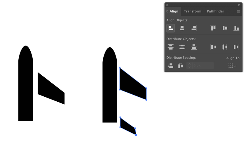 Drawing wing and tail of the plane in Adobe Illustrator