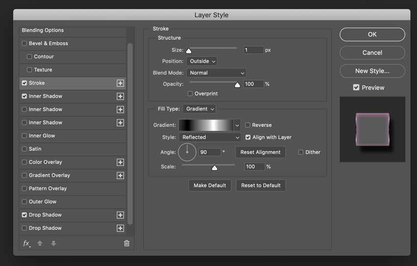 How to Create a Glossy Shine Effect in Photoshop Tutorial Stroke settings