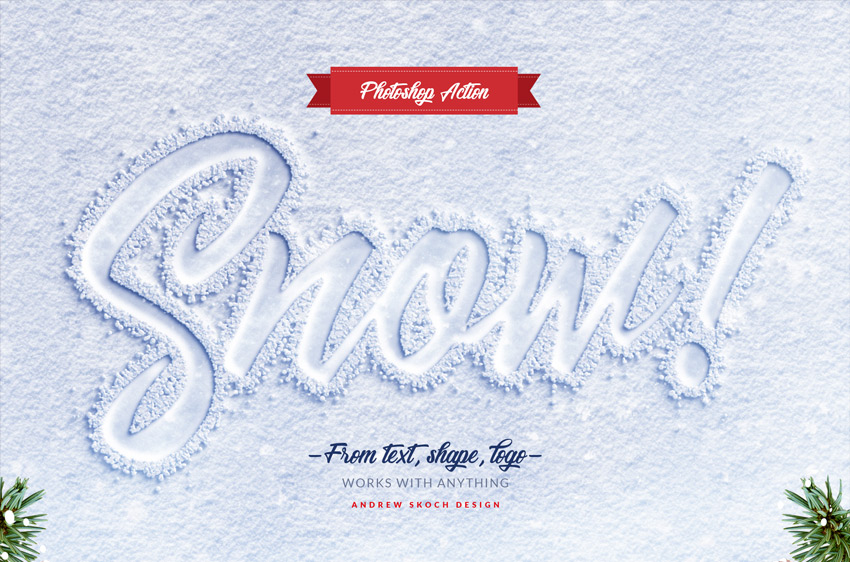 Snow Lettering - Photoshop Action