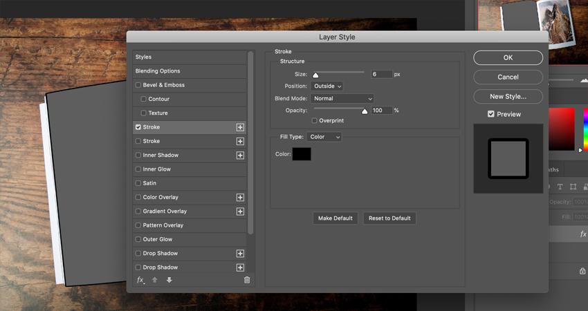 Stroke settings in Adobe Photoshop