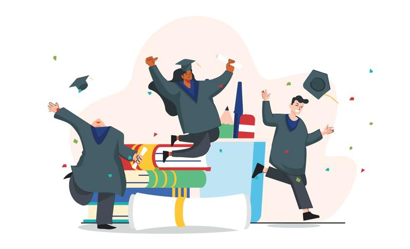 Happy student illustration