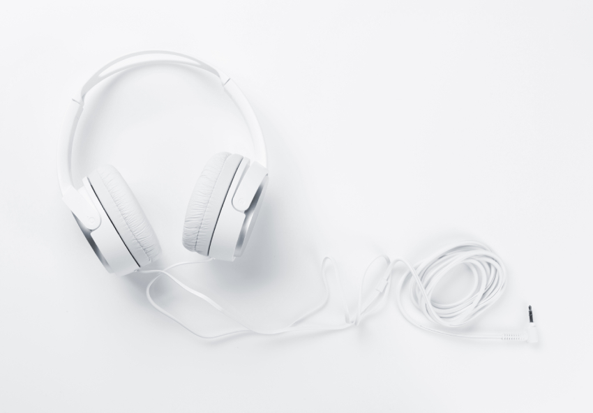 White headphones on a white background