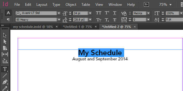 importing an excel table to design a schedule in adobe indesign