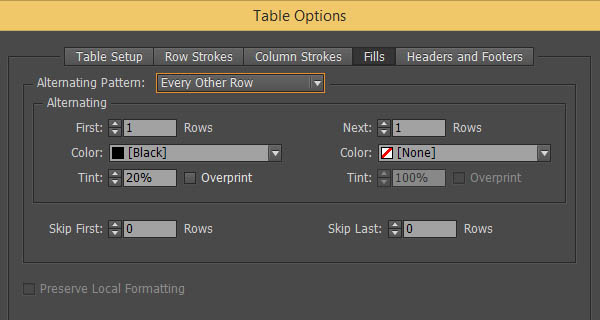 Modifying Table Appearance