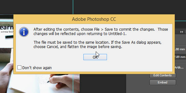 Linked Smart Object - Warning from Photoshop