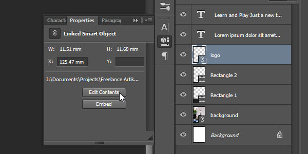Linked Smart Object - Editing vector logo