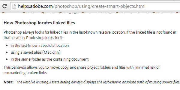 Linked Smart Object - How Photoshop locates linked files