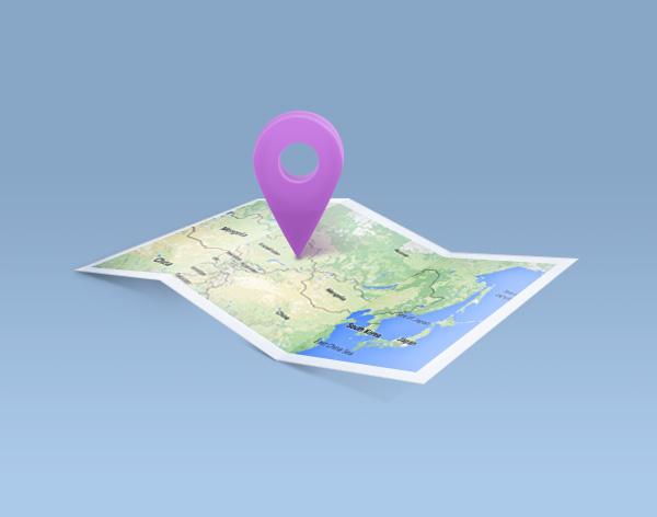 Biểu tượng bản đồ sản phẩm cuối cùng được tạo ra trong Adobe Photoshop