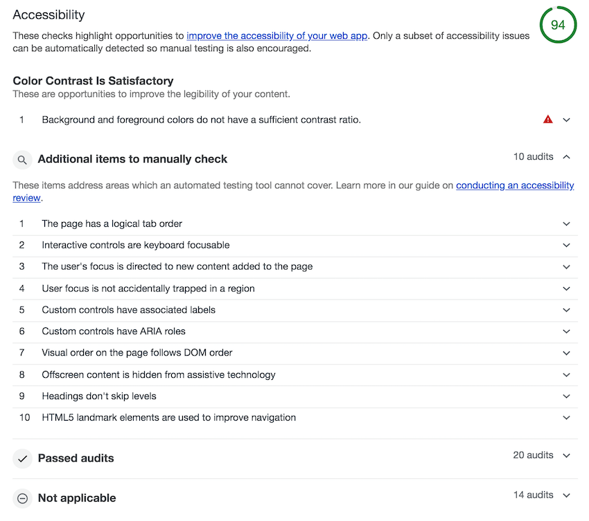 Resultados de la auditoria de accesibilidad con Lighthouse para la página de búsqueda de ThemeForest