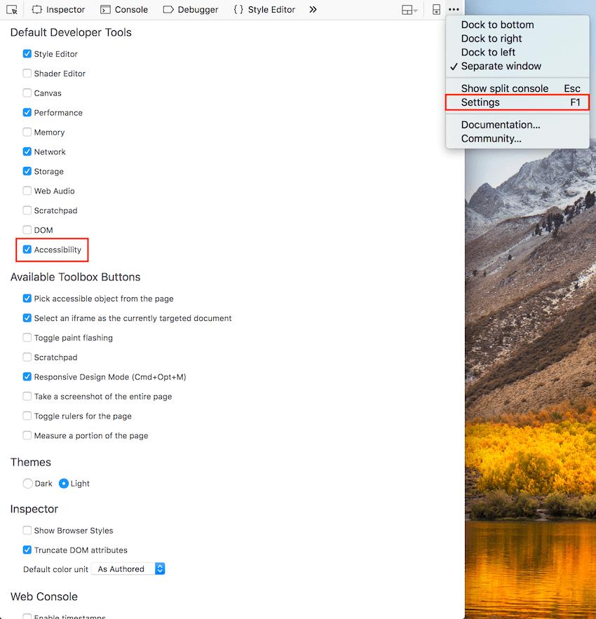 Habilitar el panel de accesibilidad de las herramientas para desarrolladores de Firefox