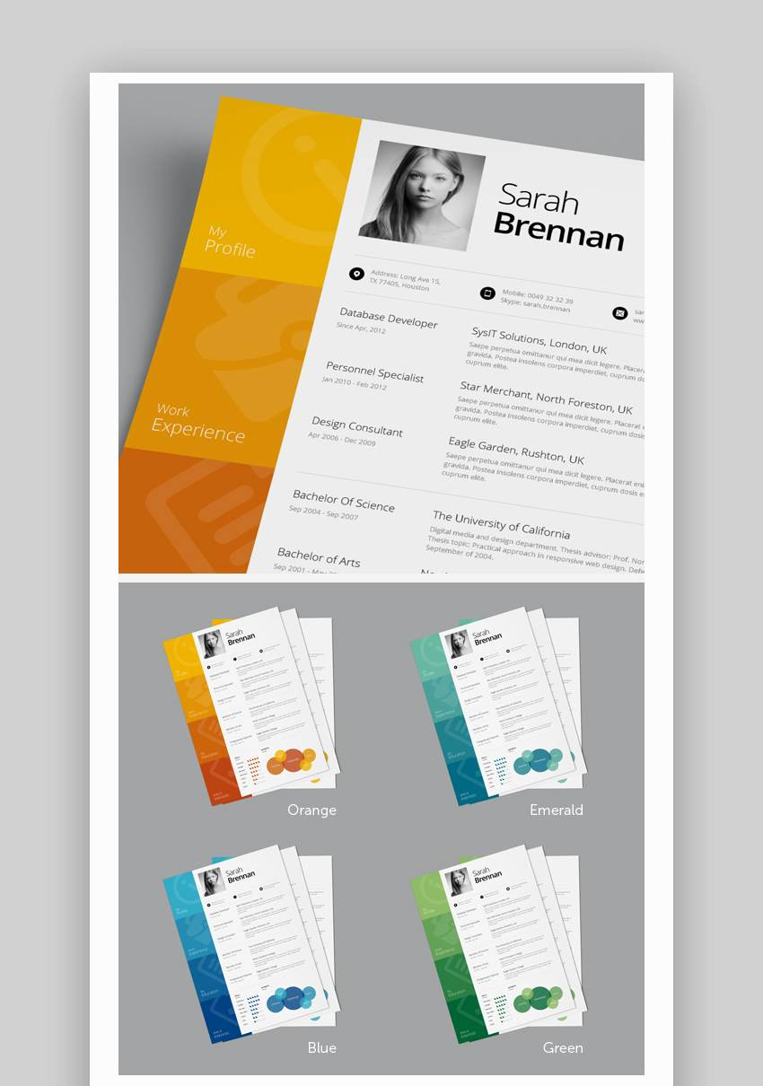 cascade one page colorful resume template