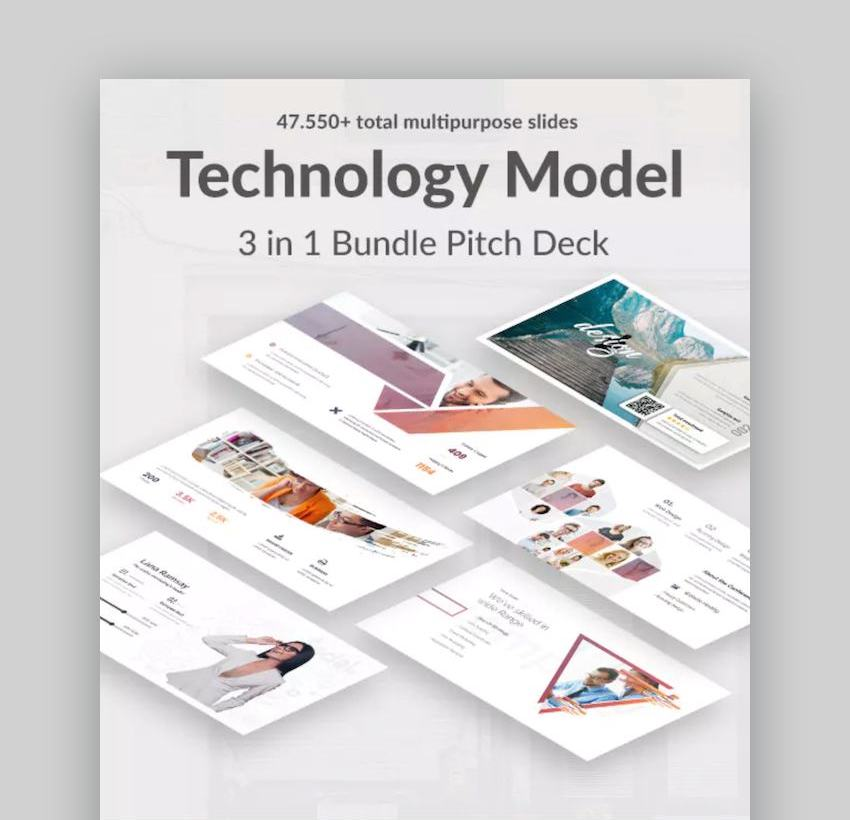 3 in 1 Technology Model Bundle Pitch Deck Powerpoint Template