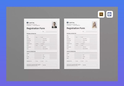 Registration form template preview