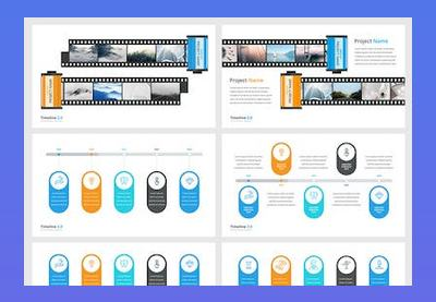 Google slides timelines template preview blue