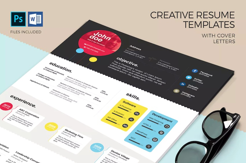20 Free Creative Resume Templates (Word & PSD Downloads
