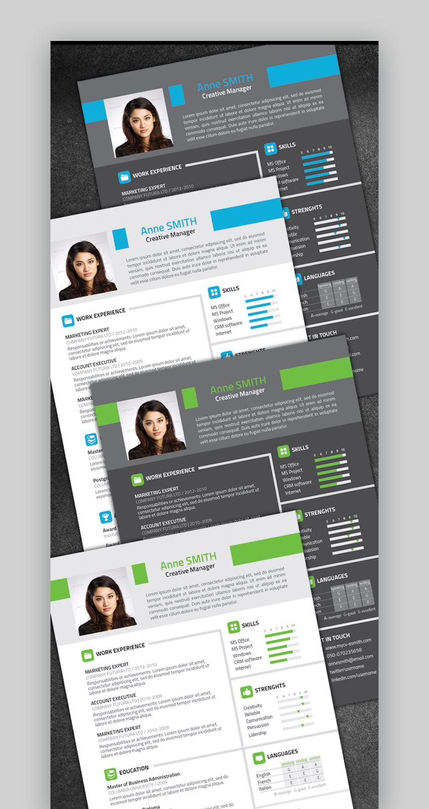 One-Page Resume Template with Color Variations