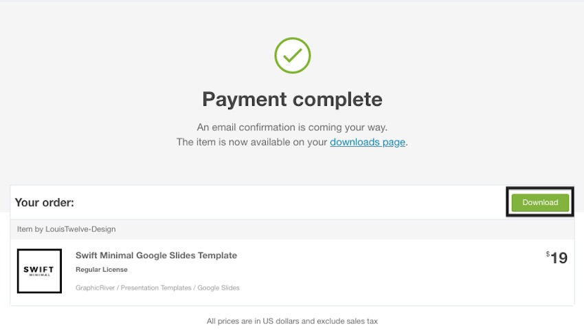 GraphicRiver Payment Confirmation