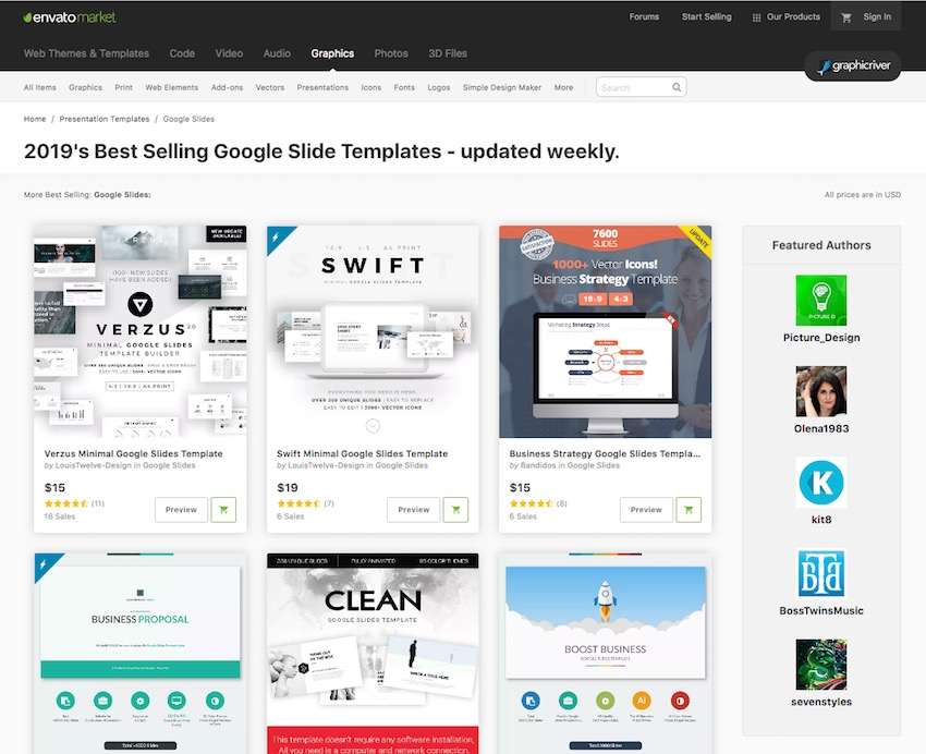 Best Google Slides Themes for download on GraphicRiver
