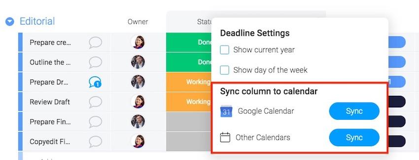 Mondaycom - External Calendar Sync