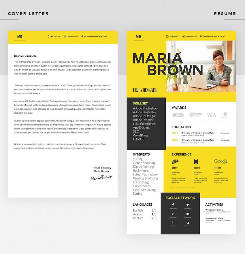 Best In 2020 35 Professional Resume Cv Design Templates Cool Modern