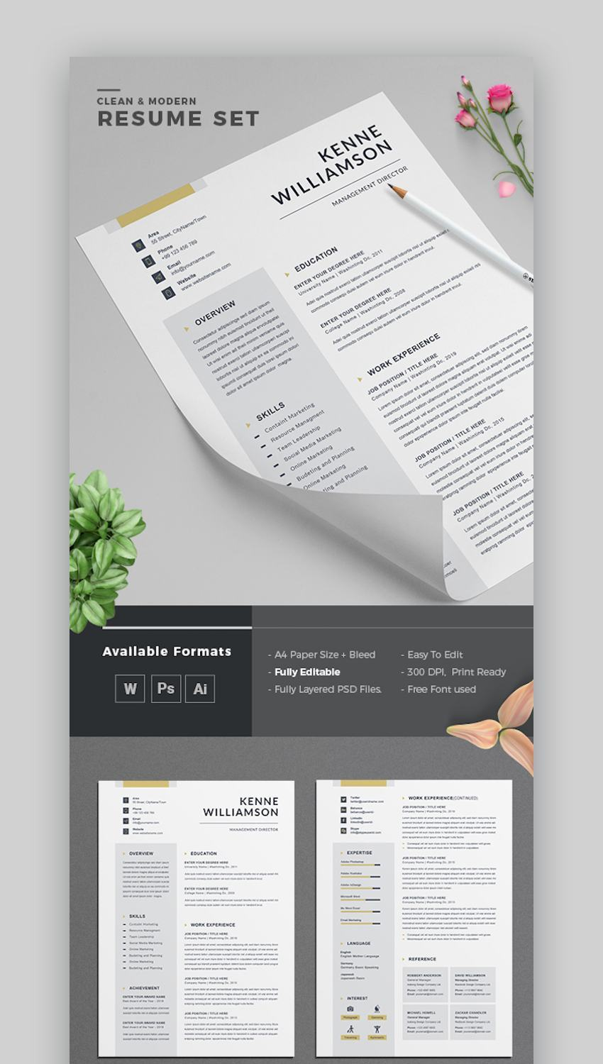 25 Modern Resume Templates With Clean (Elegant) CV Designs