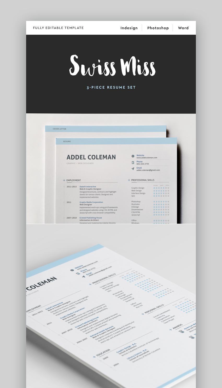 25 Modern Resume Templates With Clean (Elegant) CV Designs ...