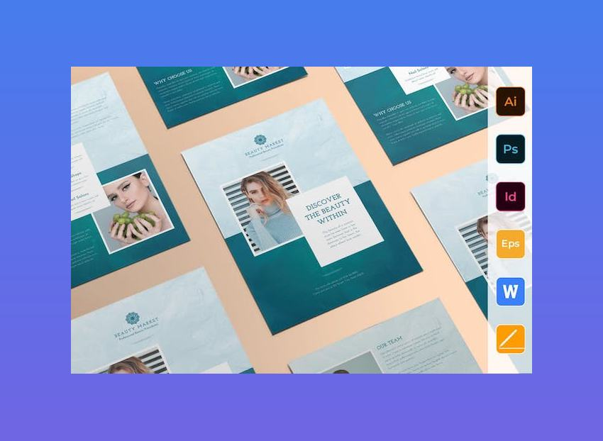 Beauty Market Flyer Template for Microsoft Word