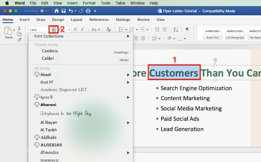 How to Create a Flyer in Word - Change Font