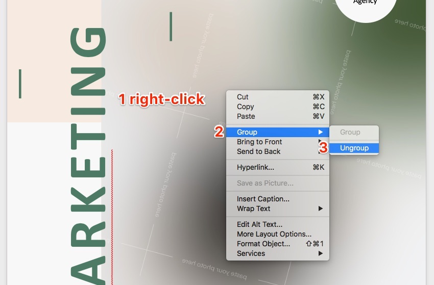 Make a flyer in Word - Ungroup Objects