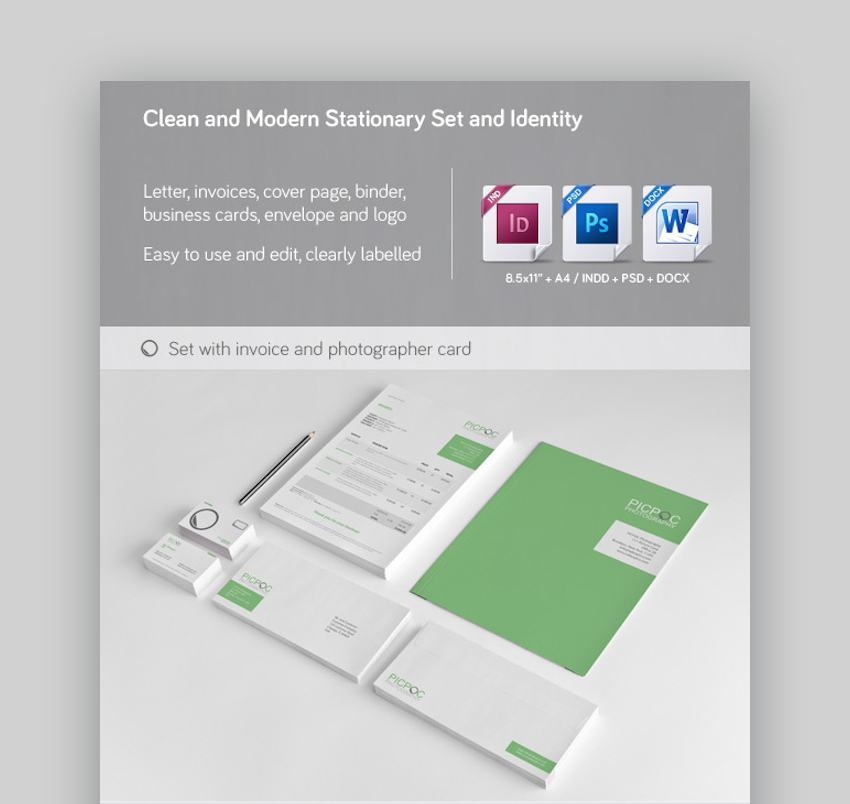 Clean  Modern Stationery Invoice and Identity Template