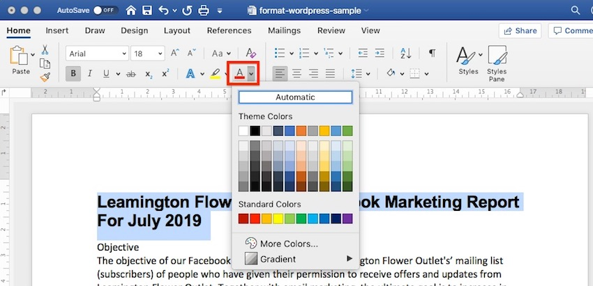 Change Font Color in Word