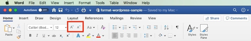 Word - Font Size Shortcuts