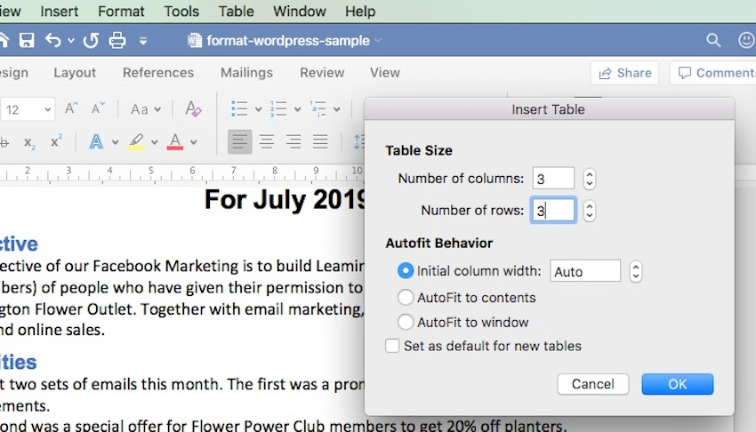 Create a Table in Word