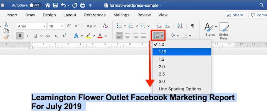 Format Line Spacing in Word