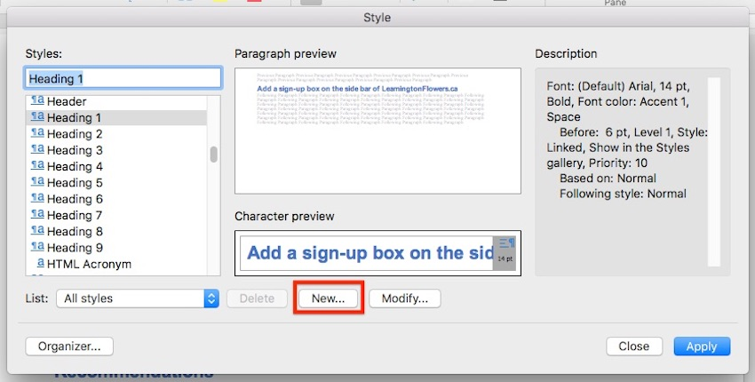 Word - New Style Dialog