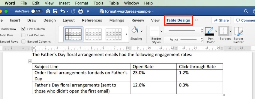 Table Design - Microsoft Word