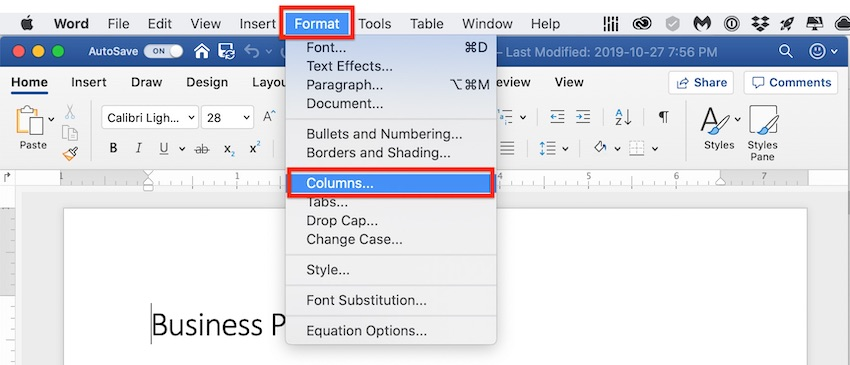 MS Word - Format Columns Layout