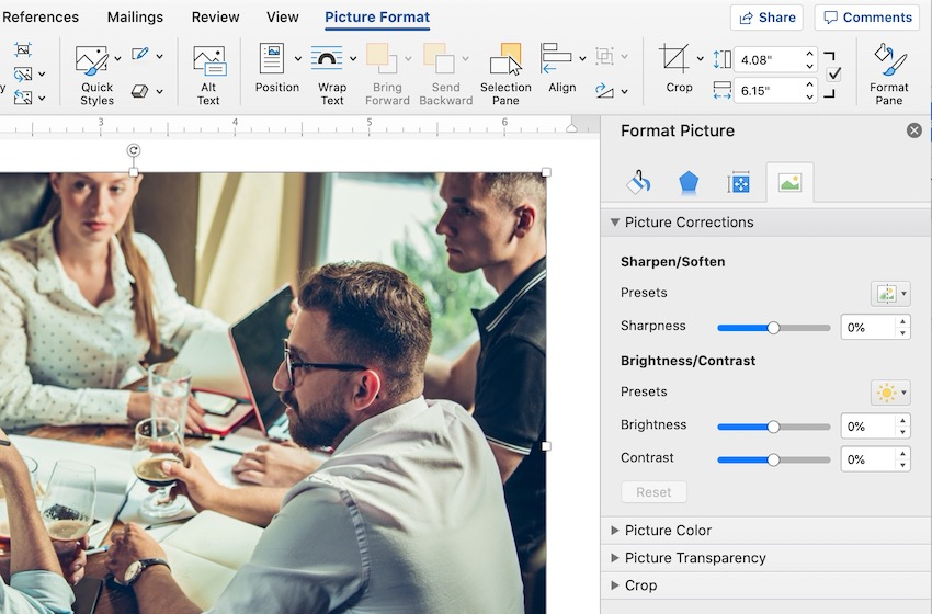 Picture Corrections Options in Microsoft Word