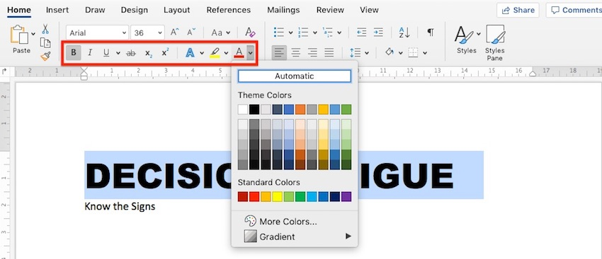 Change Microsoft Word default font - Font color and other settings
