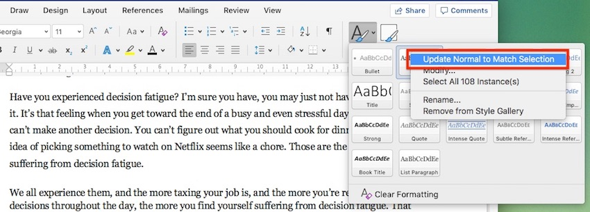 Change Microsoft Word default font - Update paragraph style