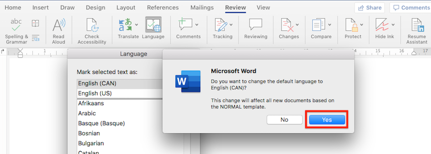 Default language in Word