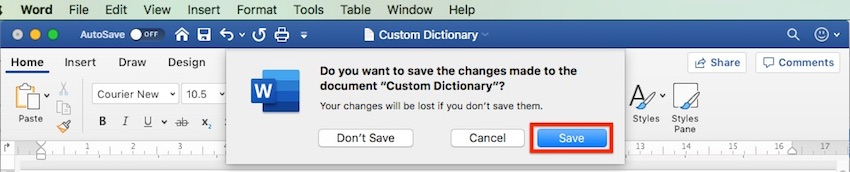Word - Custom Dictionary - Save changes