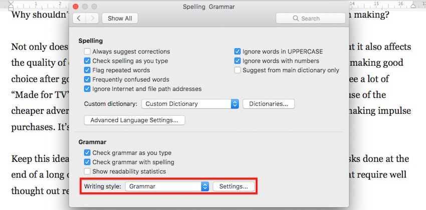 Microsoft Word Writing Style Settings