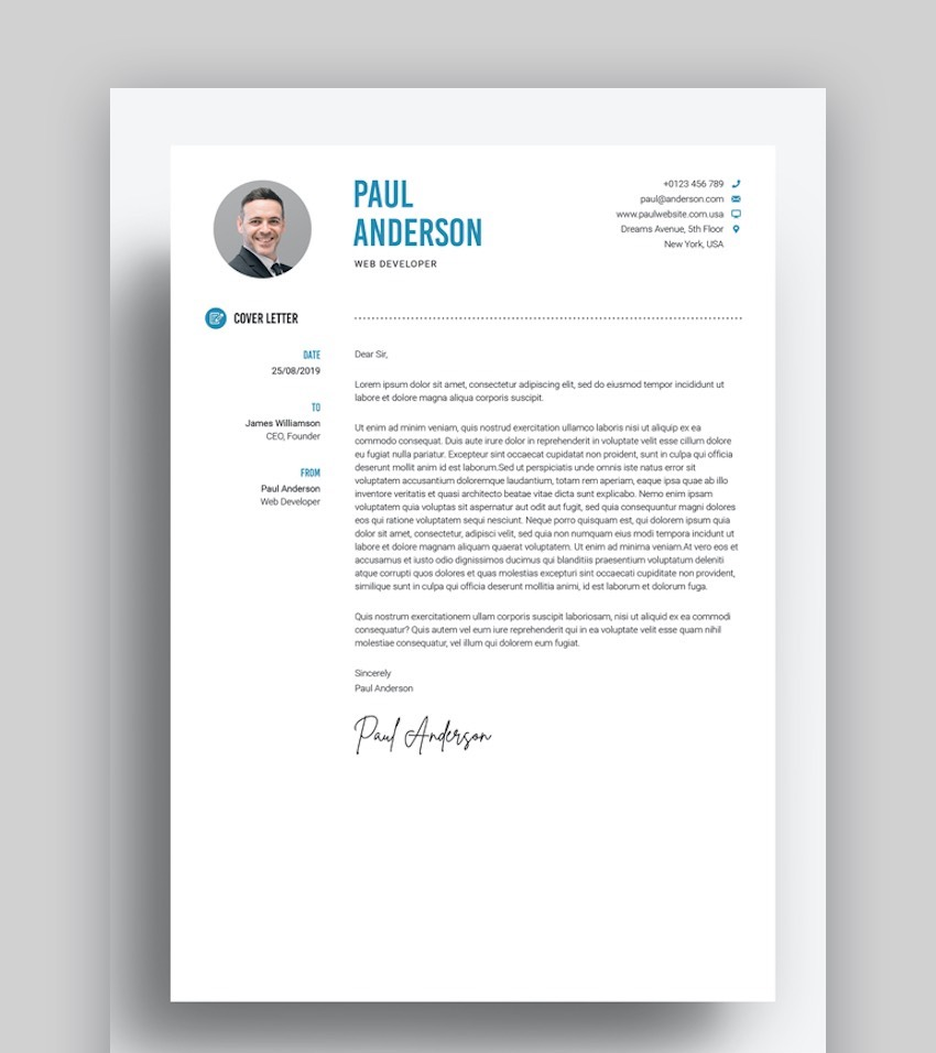 Microsoft Word cover letter template - Clean ResumeCV