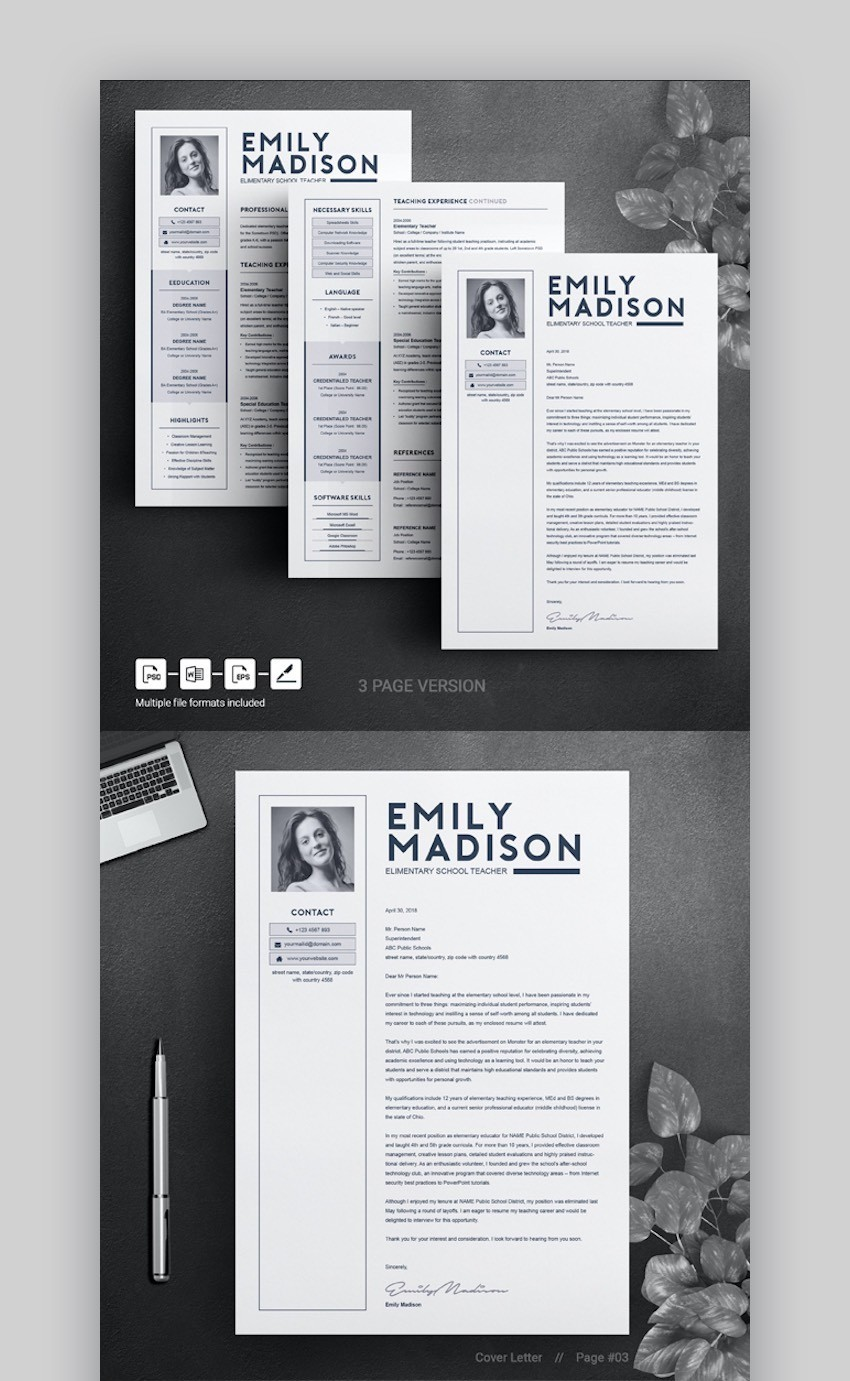 MS Word Cover Letter Template - Teacher Resume Template