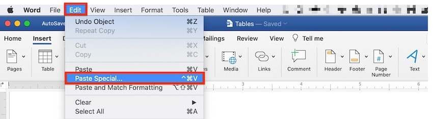 How to insert table in Word - Insert a Table from Excel Paste Special