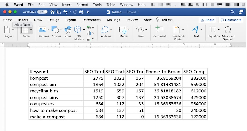 Embed Microsoft Excel Table into Word