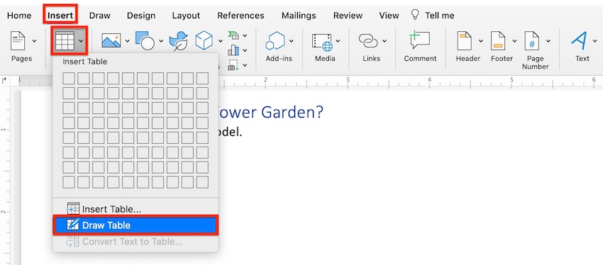 How to make a table in Word - Draw Table