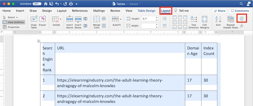 How to insert table in Word - Convert Table to Text icon