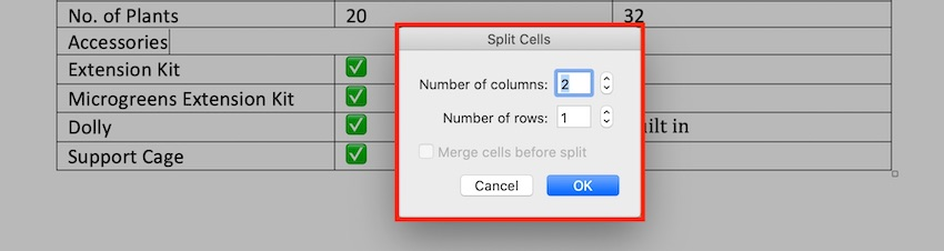 Edit a table in MS Word - Split Cells panel